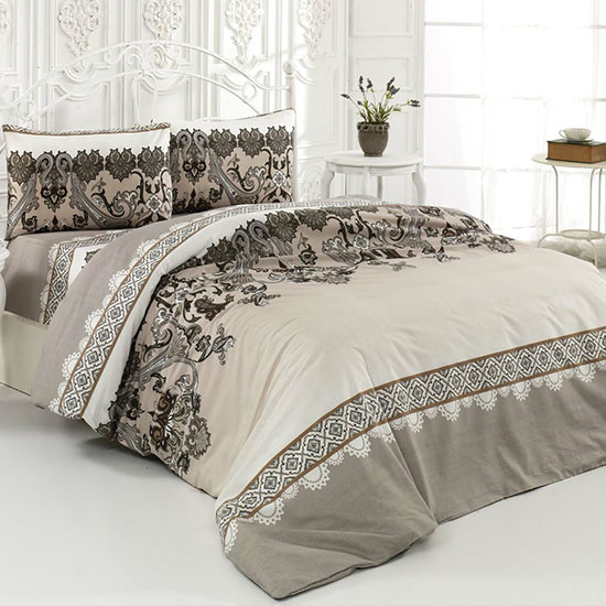 Pachet 2 Bottega Home Bed Line Double Set 200*220 cm - BEJ + BEJ + 2x Perne Bottega Home CADOU