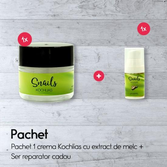 Pachet 1 crema Kochlias cu extract de melc + ser reparator cadou