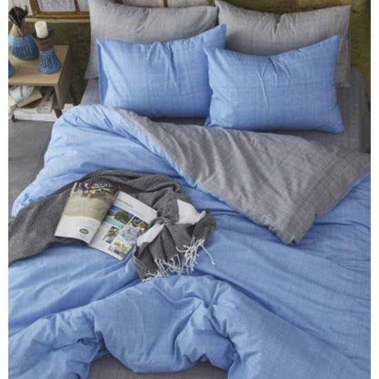 Lenjeria Bottega home  Gri-Albastru + o perna cadou