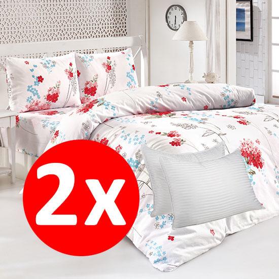 Pachet 2 Bottega Home Bed Line Double Set 200*220 cm - RED FLORAL + RED FLORAL + 2x Perne Bottega Home CADOU