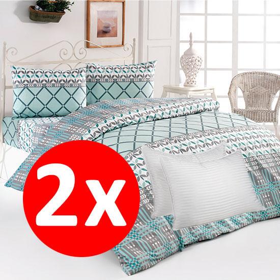 Pachet 2 Bottega Home Bed Line Double Set 200*220 cm - TURCOAZ + TURCOAZ + 2 Perne Bottega Home CADOU