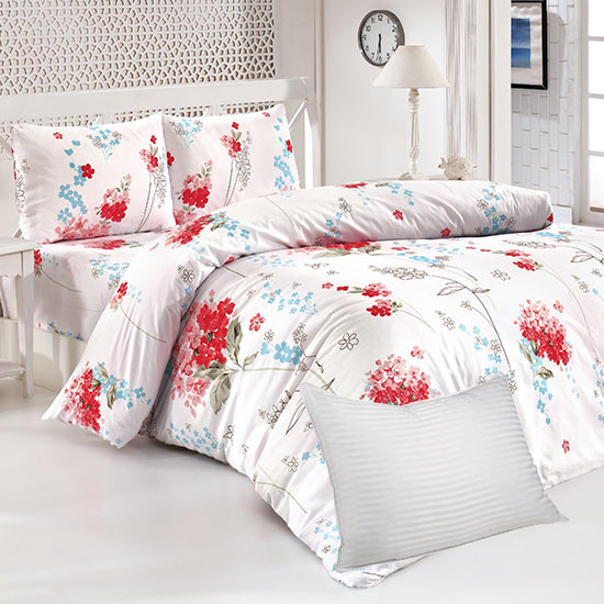 Pachet Bottega Home Bed Line Double Set 200*220 cm - RED FLORAL + Perna Bottega Home CADOU
