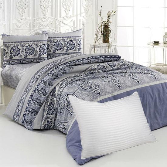 Pachet Bottega Home Bed Line Double Set 200*220 cm - ALBASTRU + Perna Bottega Home CADOU