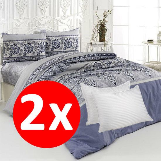 Pachet 2 Bottega Home Bed Line Double Set 200*220 cm - ALBASTRU + ALBASTRU + 2 Perne Bottega Home CADOU