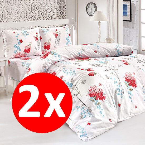 2 Bottega Home Bed Line Double Set 200*220 cm - TURCOAZ + RED FLORAL