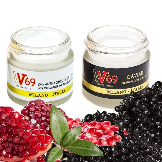 Pachet 1x Crema 24 de ore Anti Aging cu Colagen si Rodie VV69 + 1x Crema Caviar Premium Luxe Cream VV69