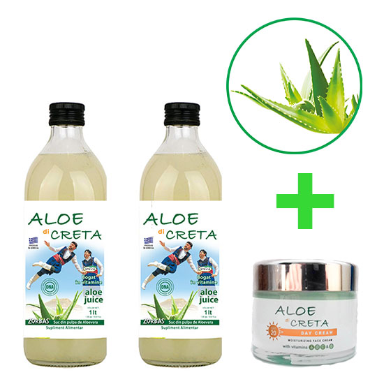 Pachet 2 Sucuri Aloe di Creta Natural + 1 Crema Aloe di Creta Cadou
